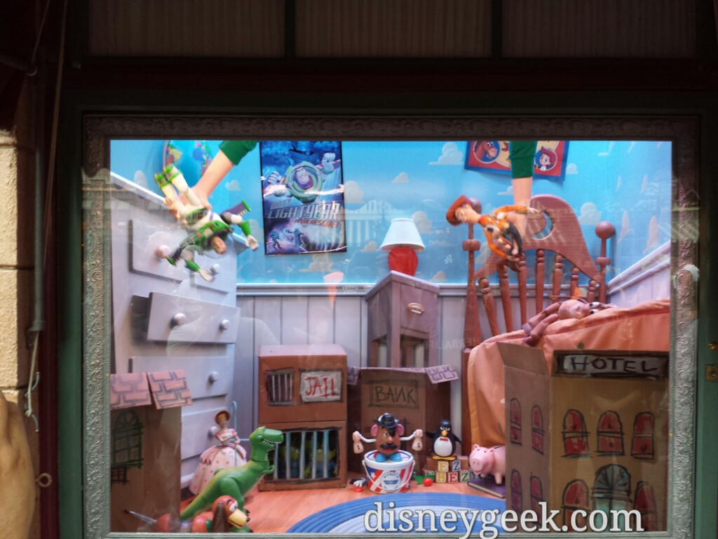 Andy playing the new Toy Story window at the Emporium #Disneyland60