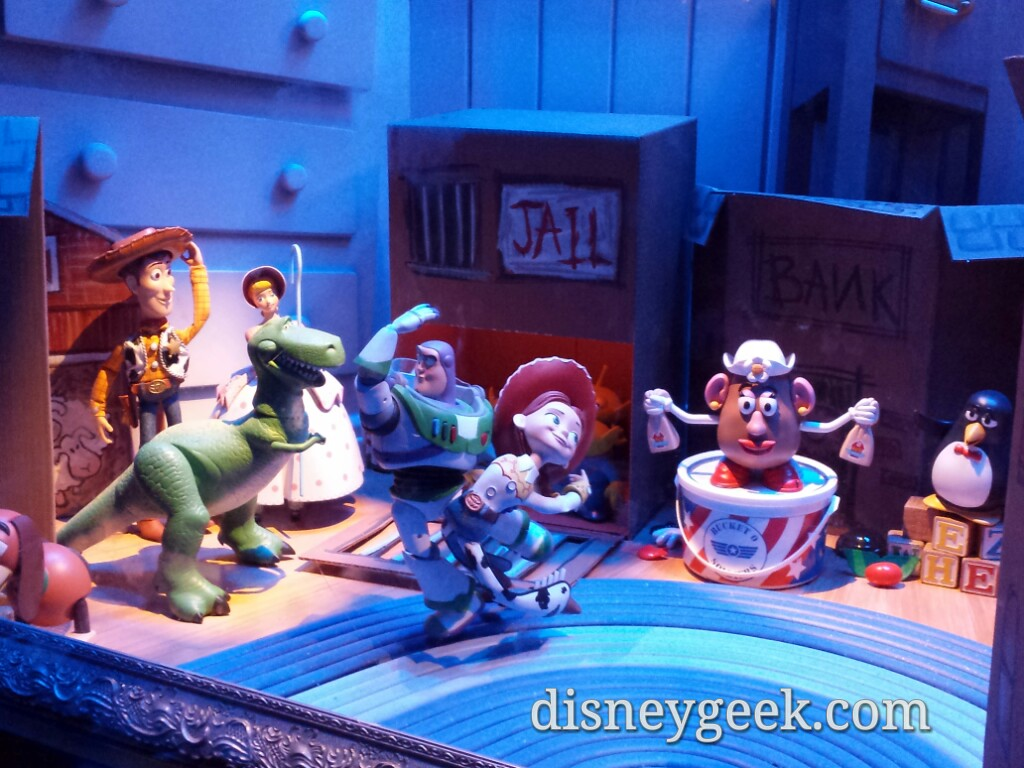 Emporium Toy Story window dance scene with no glare #Disneyland