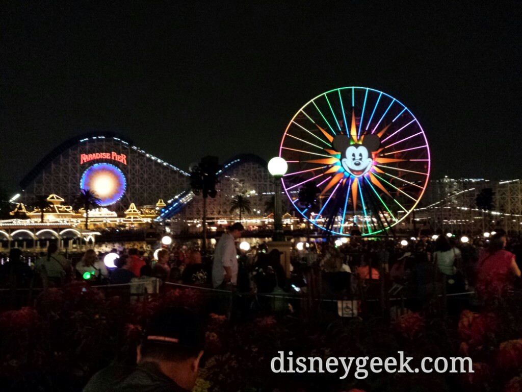 Found a spot in standby for World of Color Celebrate only 25min to stand here now