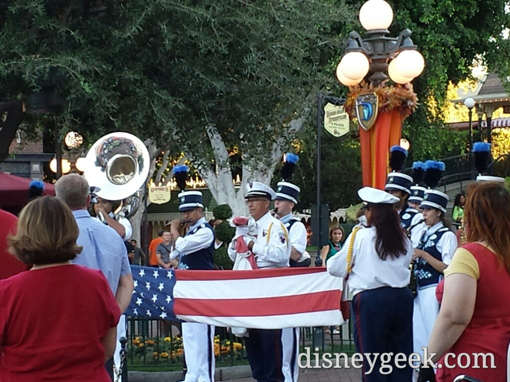 At the nightly flag retreat ceremony in Town Square on Main Street USA #Disneyland