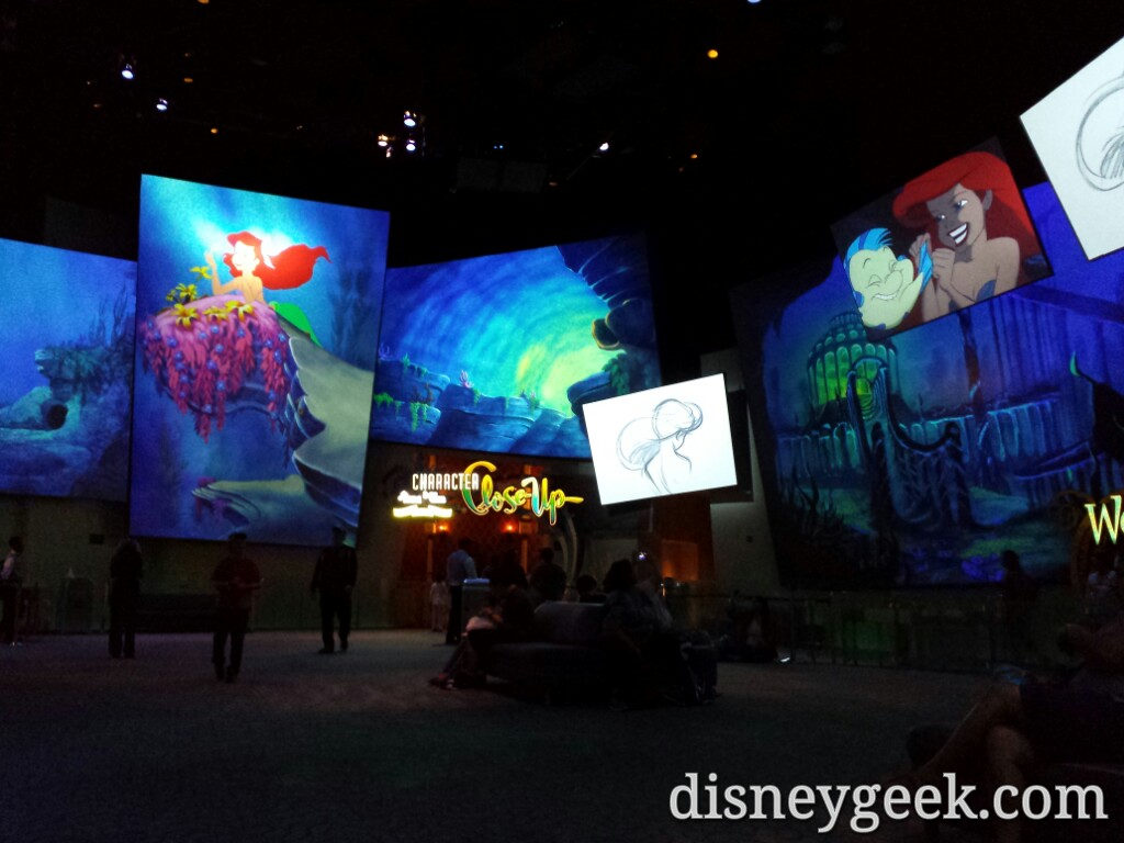 The Animation lobby is quiet with plenty of seating open at Disney California Adventure