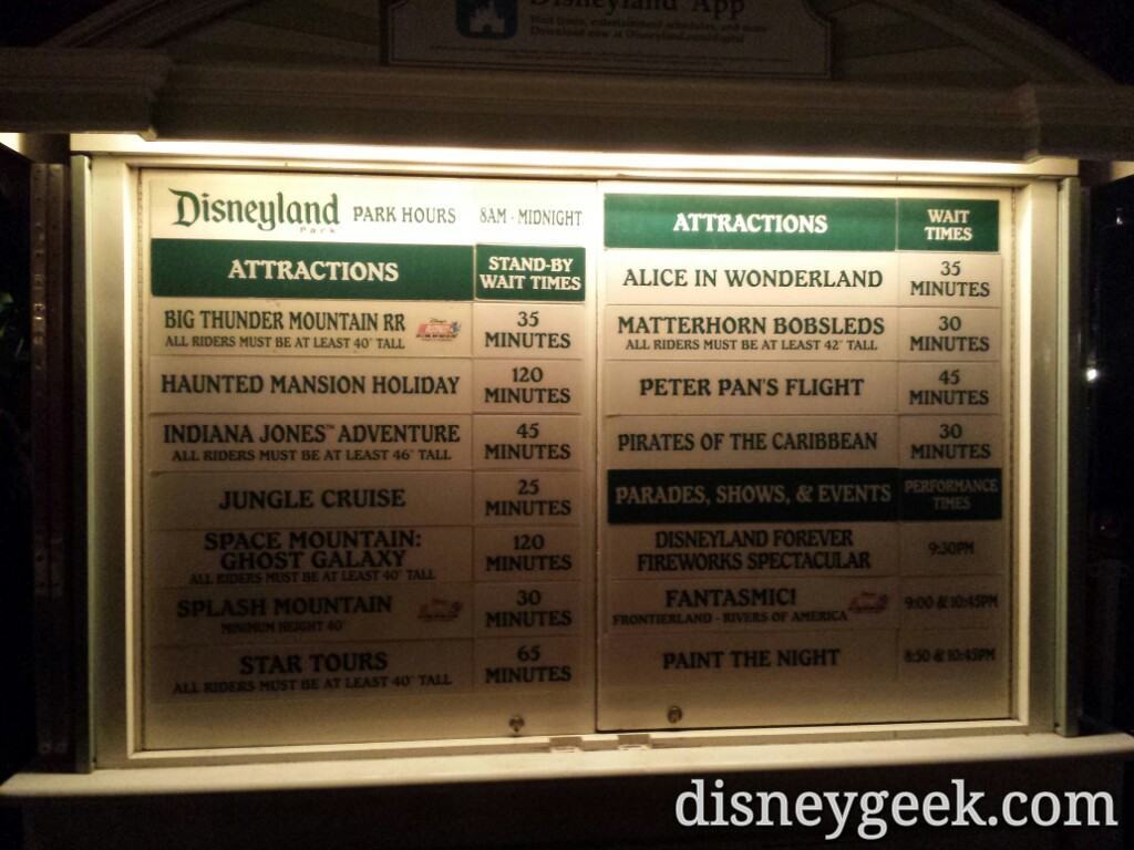 #Disneyland waits as of 8:15 – 120 min for HMH & Ghost Galaxy