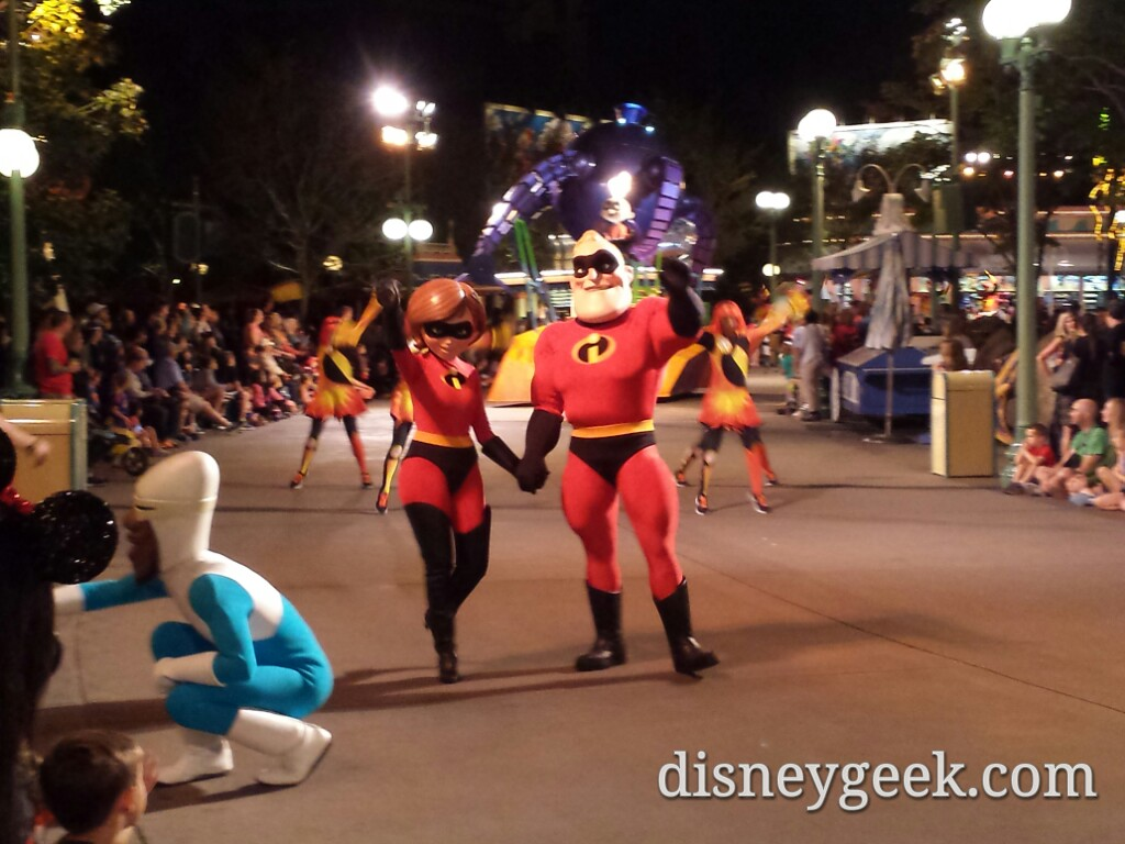 The Incredibles are walking today in the Pixar Play Parade