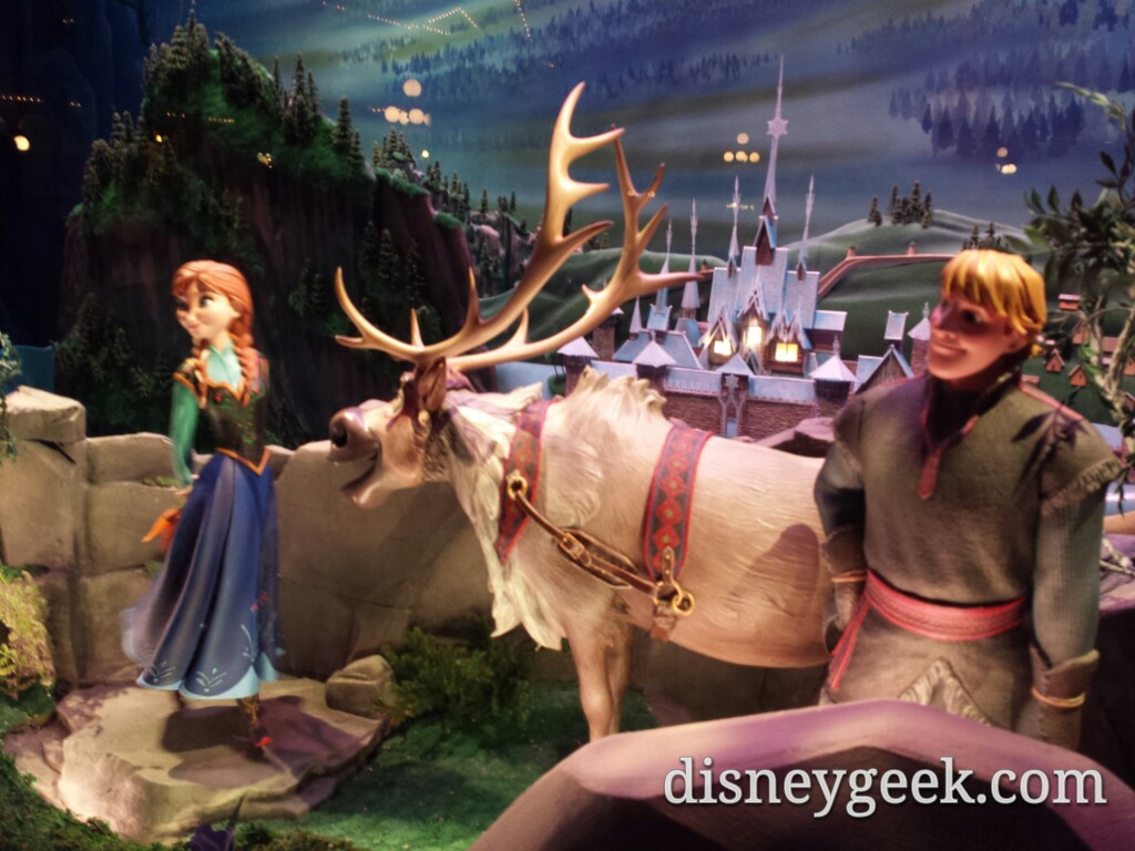 #Frozen Emporium window scene 1 features Anna, Kristoff & Sven #Disneyland