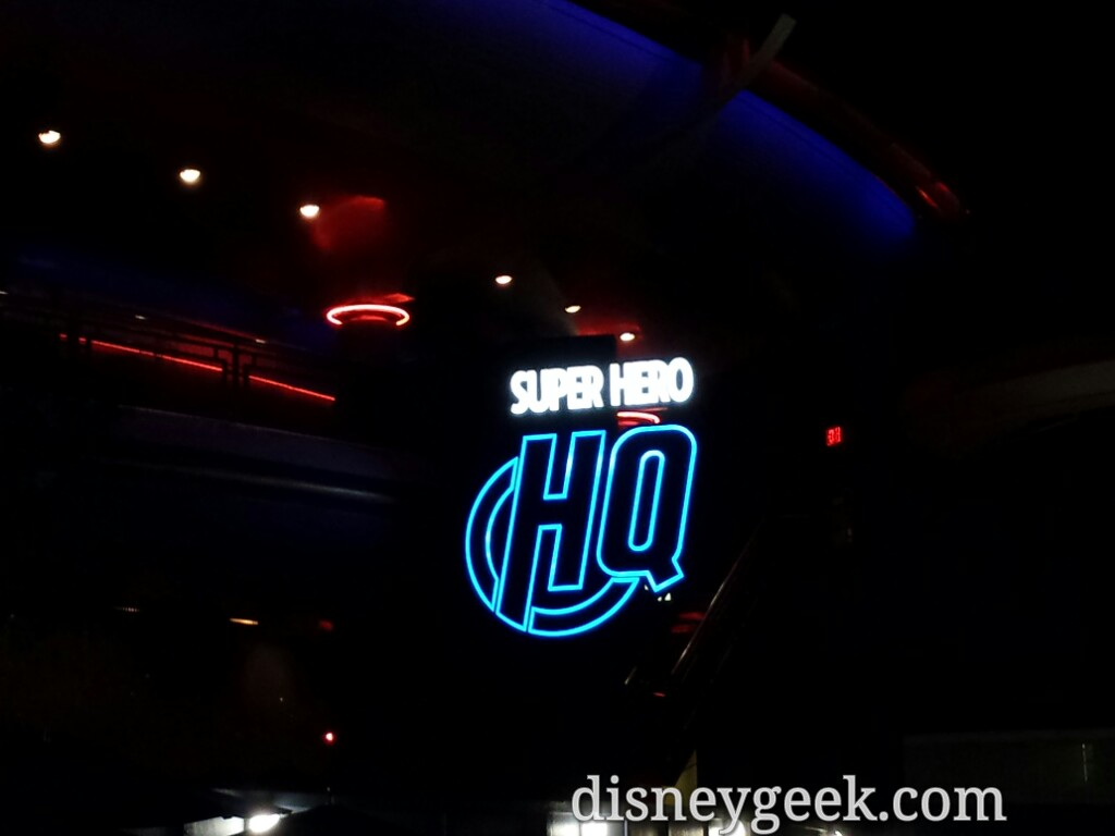 Super Hero HQ sign in Tomorrowland at night #Disneyland