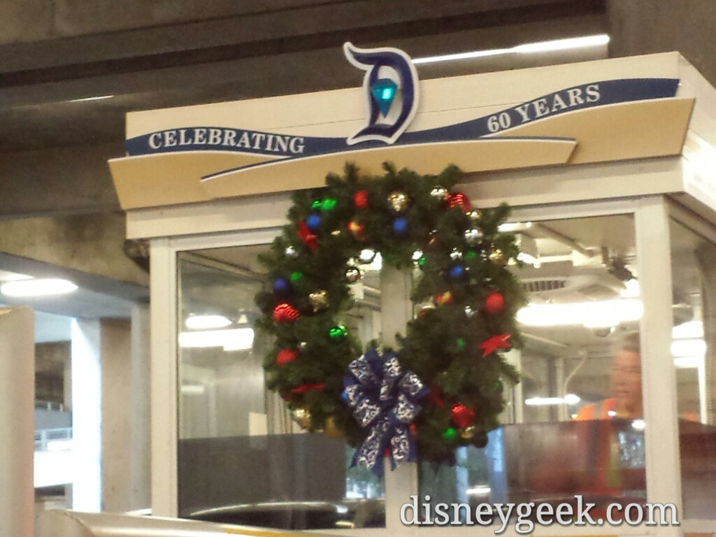 #Christmas wreaths at the parking toll booths #Disneyland #DisneyHolidays