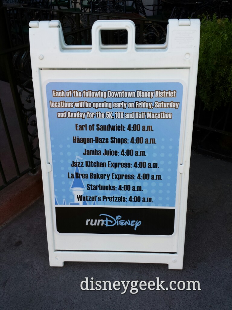 This weekend is the Avengers half marathon.  Special Downtown Disney hours