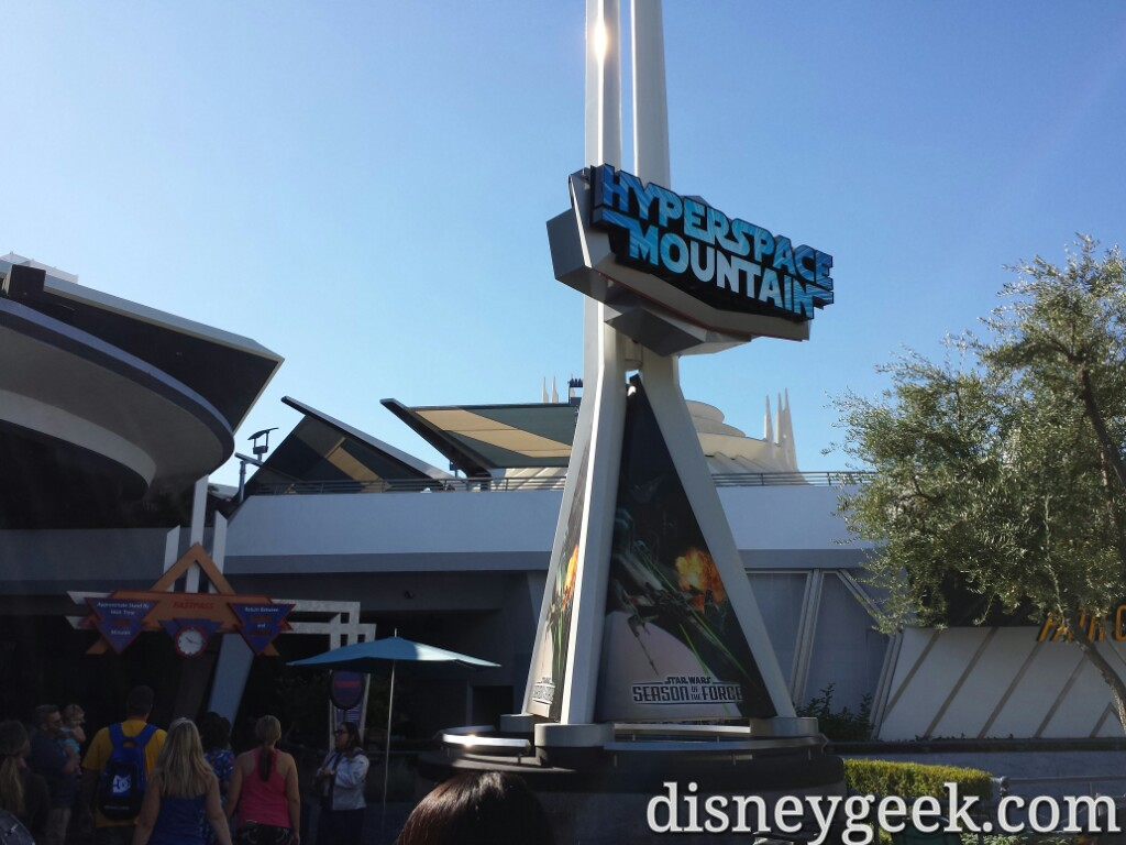 HyperSpace Mountain soft opening going on now #Disneyland #StarWars #SeasonsOfTheForce