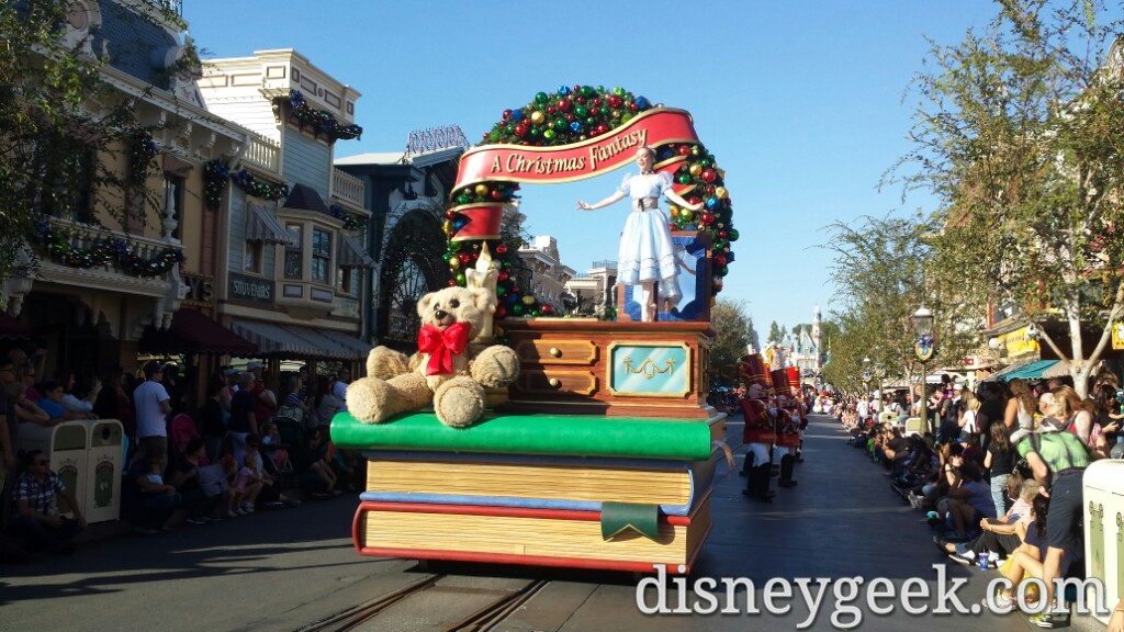 A Christmas Fantasy parade arriving in Town Square #Disneyland