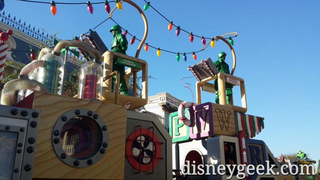 Green Army Men on the Toy Factory Float this year in a #Christmas Fantasy #Disneyland