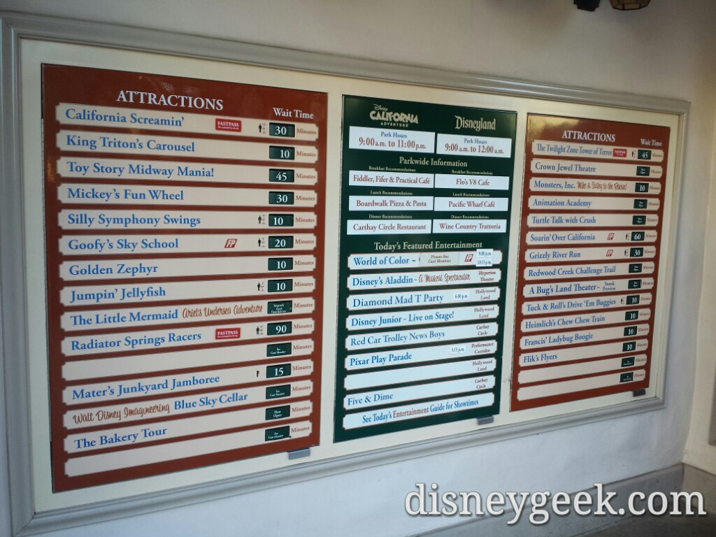 Some Disney California Adventure waits as of 3:05pm