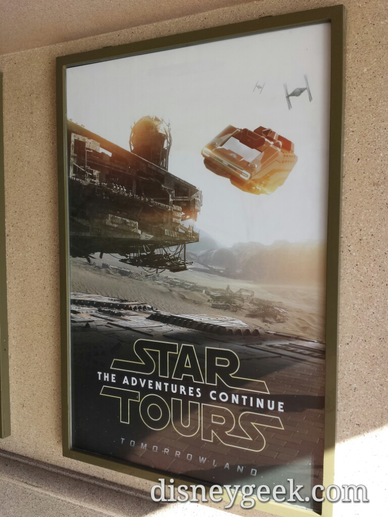 An updated Star Tours attraction poster as you enter #Disneyland
