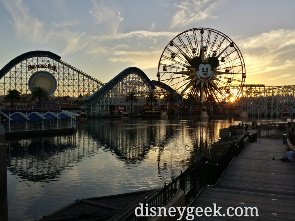Paradise Pier at sunset in Disney California Adventure