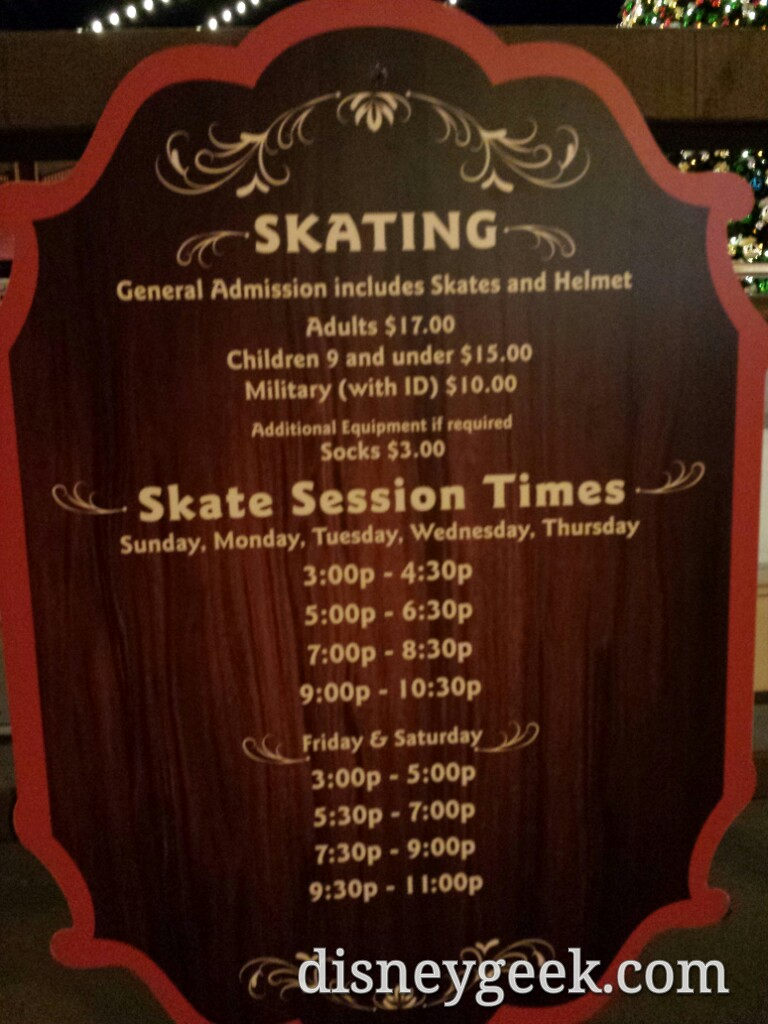 Olaf's ice rink session timed & costs