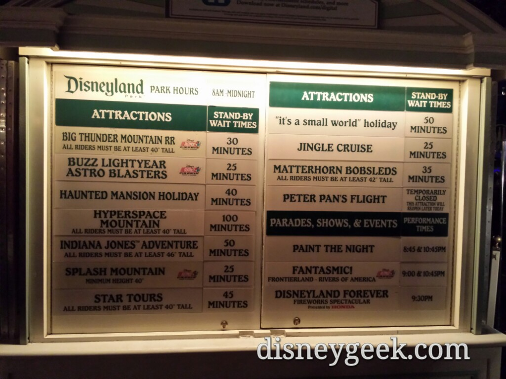 #Disneyland waits as of 8:00pm