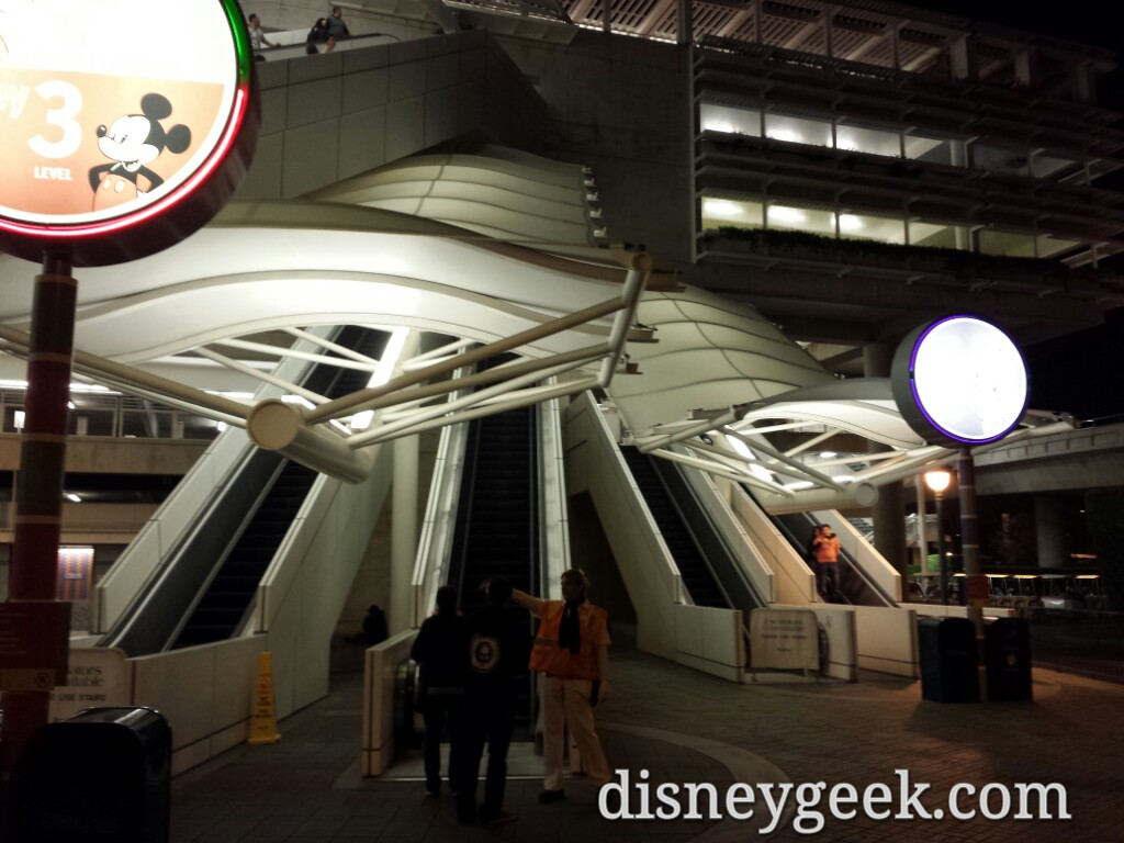 Only down escalators working for floors 2, 3 & 4 @ Mickey & Friends