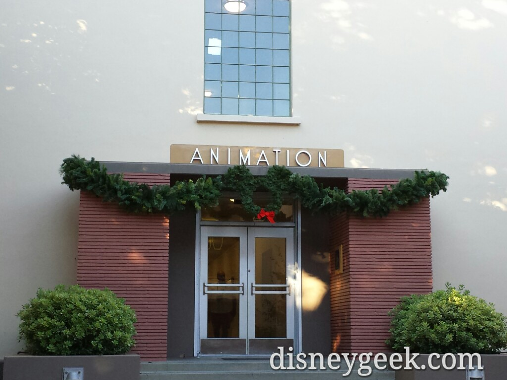 Mickey wreath & garland on the original Animation Building on the Walt Disney Studios Lot in Burbank