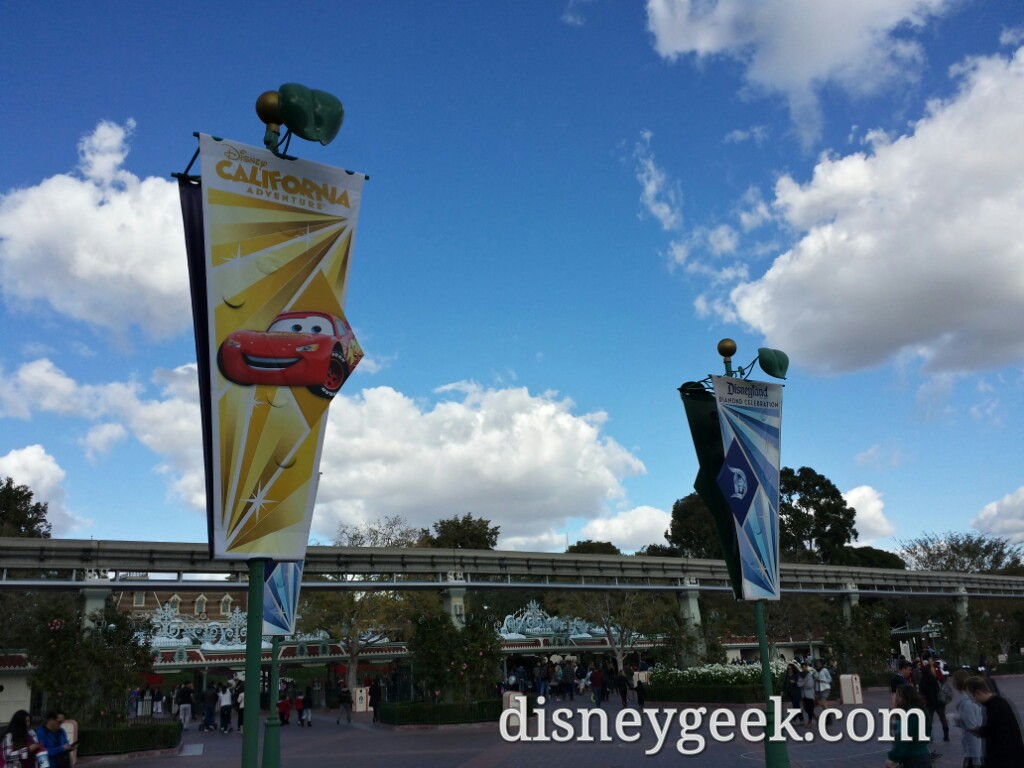 New banners in the Esplande this week featuring DCA I think the #Disneyland60 were updated too