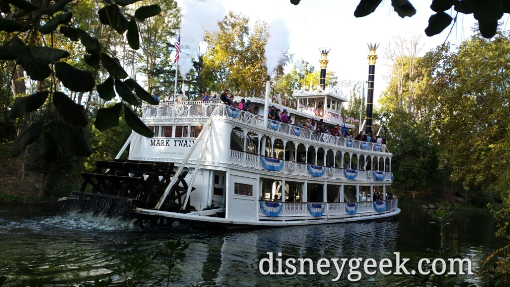 The Mark Twain cruising by on the Rivers of America #Disneyland