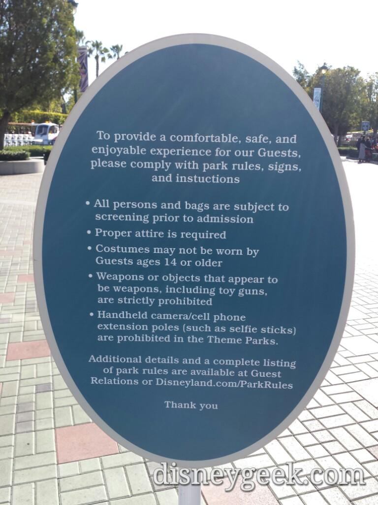 Updated signs with the new policies at the garage & tram stops #Disneyland