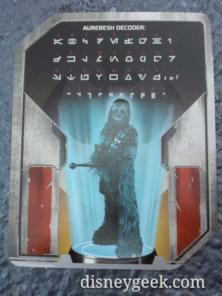 Passing out Aurebesh Decoder cards as you enter the #StarWars Launch Bay