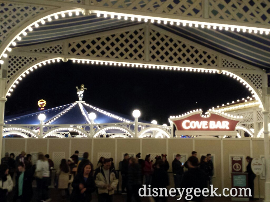 The Cove Bar expansion sign & cover lights at Disney California Adventure