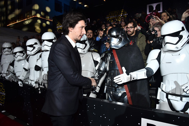 HOLLYWOOD, CA - DECEMBER 14:  Actor Adam Driver attends the World Premiere of ?Star Wars: The Force Awakens? at the Dolby, El Capitan, and TCL Theatres on December 14, 2015 in Hollywood, California.  (Photo by Alberto E. Rodriguez/Getty Images for Disney)