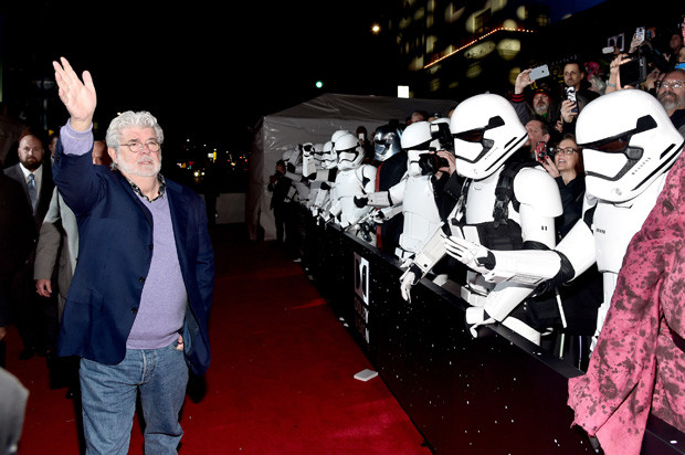 HOLLYWOOD, CA - DECEMBER 14:  Director George Lucas attends the World Premiere of ?Star Wars: The Force Awakens? at the Dolby, El Capitan, and TCL Theatres on December 14, 2015 in Hollywood, California.  (Photo by Alberto E. Rodriguez/Getty Images for Disney)