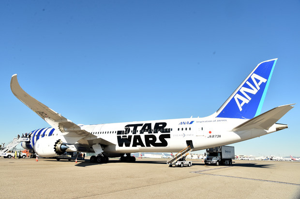 "LOS ANGELES, CA - DECEMBER 15:  Following the world premiere in Hollywood of Lucasfilm?s ""Star Wars: The Force Awakens"", the film's stars were joined by J.J. Abrams and producer/Lucasfilm president Kathleen Kennedy for a chartered flight from Los Angeles to the London premiere of the movie on a custom, one of a kind, specially themed R2-D2? ANA JET. Earlier at the premiere, stars posed for photos with a scale model of ANA?s BB-8-themed ANA JET. ANA, Japan?s largest airline, has designed three Star Wars-themed jets in celebration of Star Wars: The Force Awakens. The R2-D2? ANA JET is the first ever aircraft in the world to feature a Star Wars character on its exterior and is a product of an agreement between ANA and The Walt Disney Company (Japan) Ltd. First unveiled at the Star Wars Celebration in Anaheim, Calif. earlier this year, the R2-D2? ANA JET, a Boeing 787-9, started its regular flight in October and now flies to various destinations, including Europe, Asia, China and the U.S. December 15, 2015 in Los Angeles, California.  (Photo by Alberto E. Rodriguez/Getty Images for Disney)"