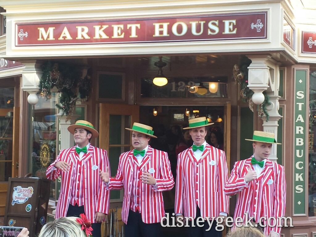 The Dapper Dans of #Disneyland performing in front of the Market House
