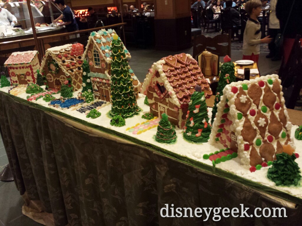 A gingerbread village in Storytellers Cafe at the Grand Californian
