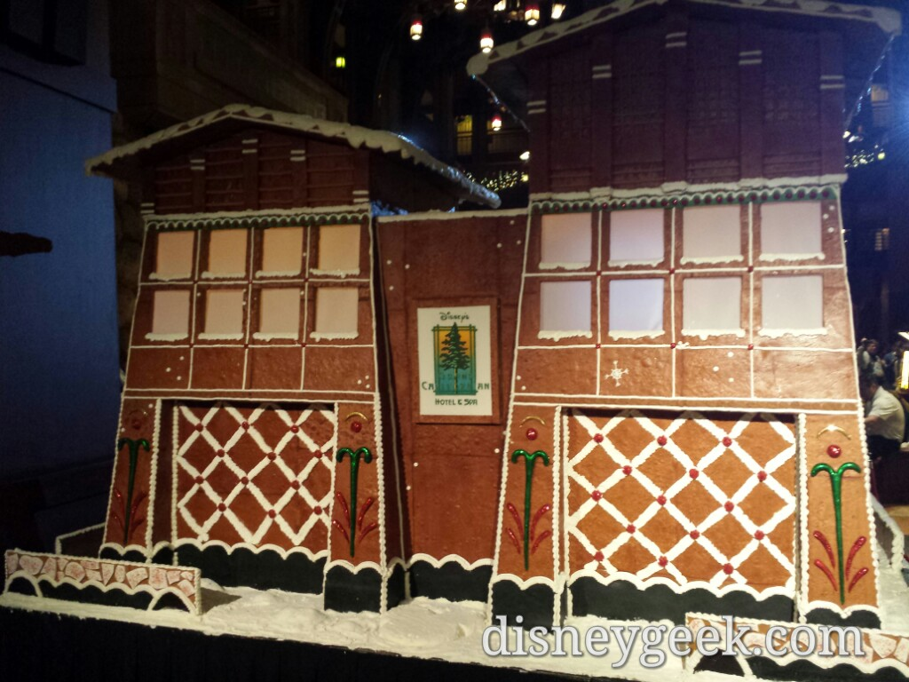 The gingerbread house in the lobby of the Grand Californian Hotel
