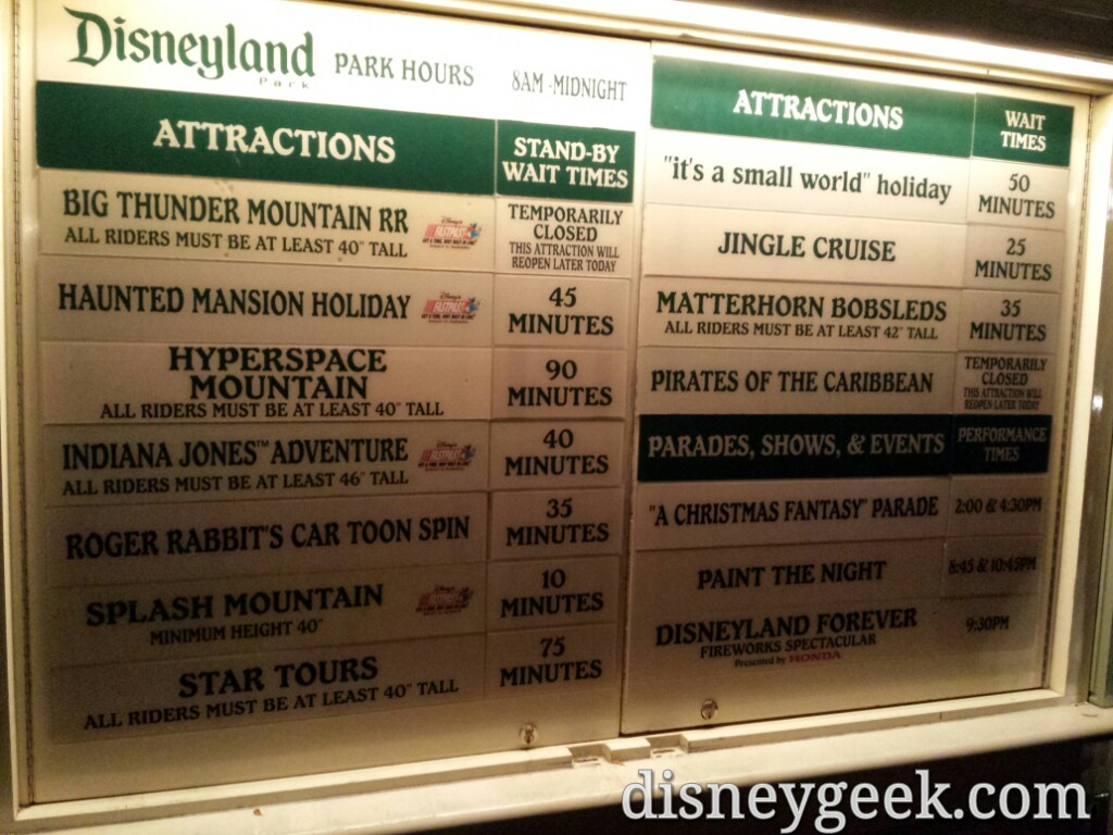 #Disneyland waits as of 7:30pm