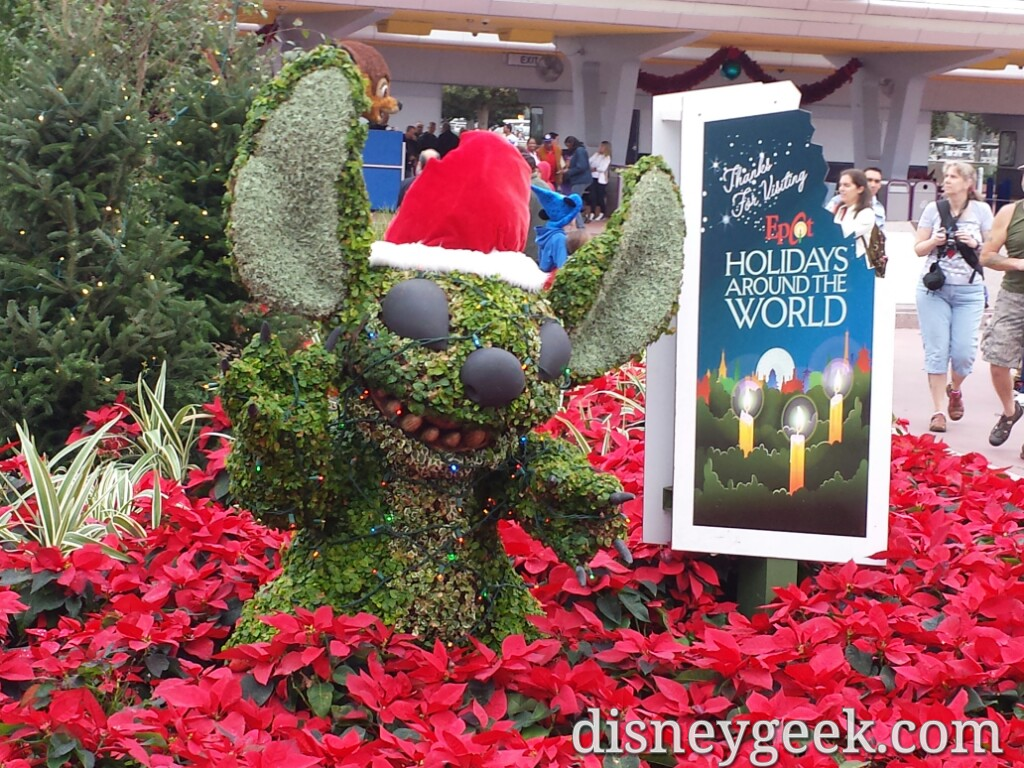 Stitch topiary near the #Epcot entrance