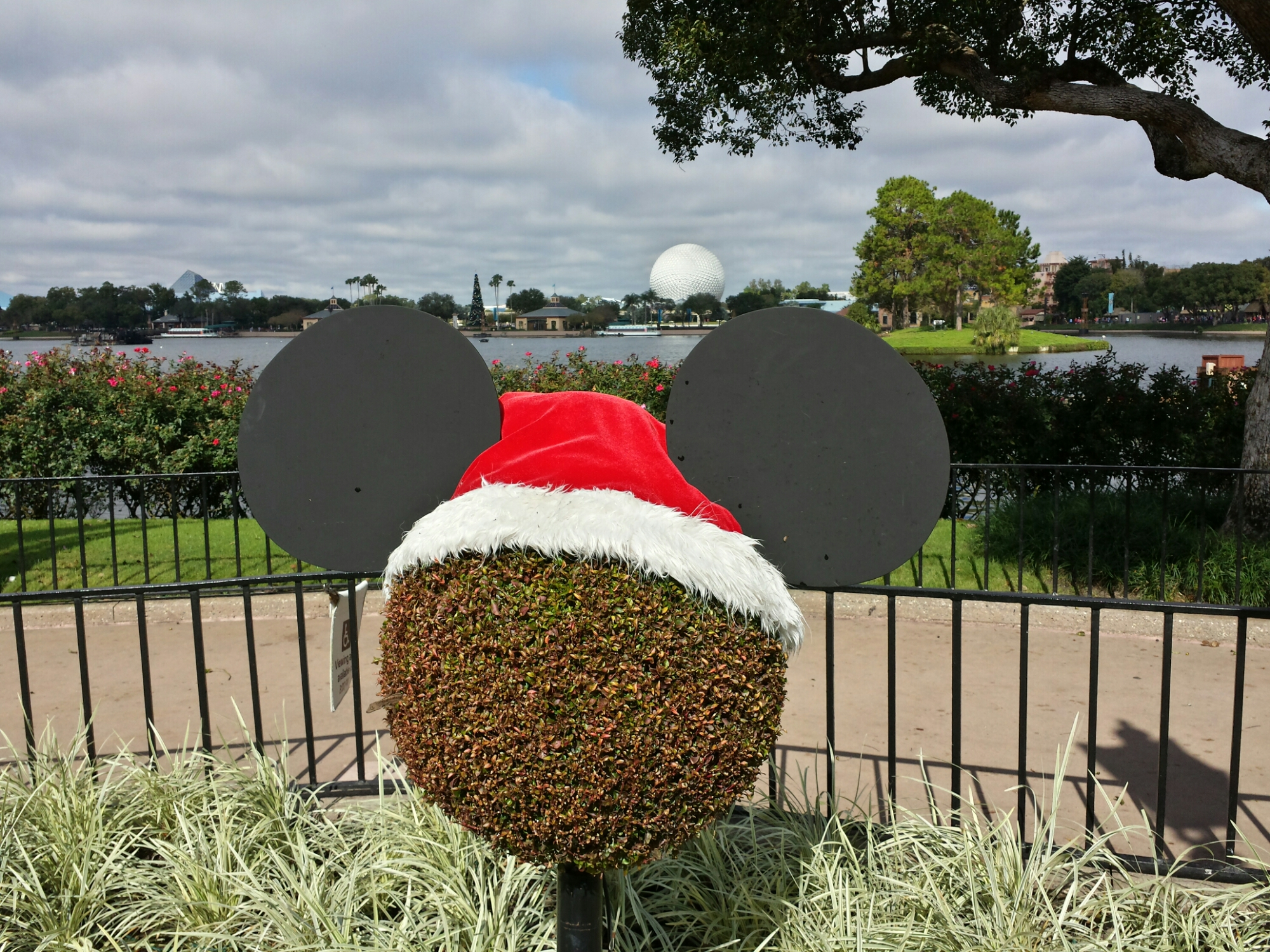 Mickey inspired topiaries in World Showcase at #Epcot