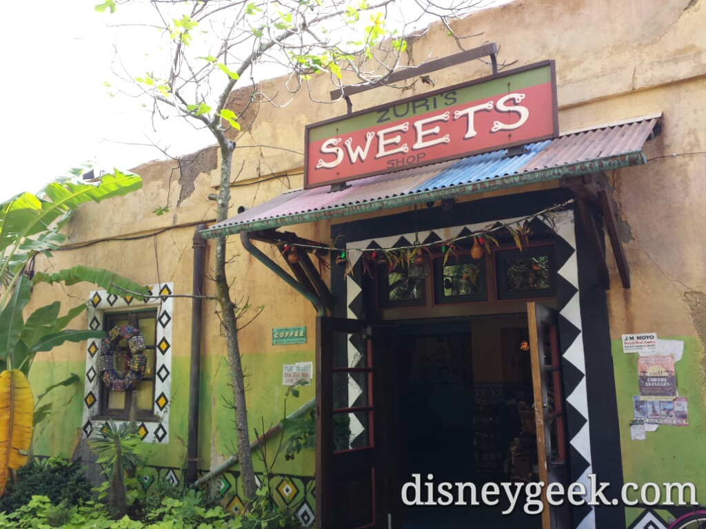 Zuri's Sweets decorated for the holidays at Disney's Animal Kingdom