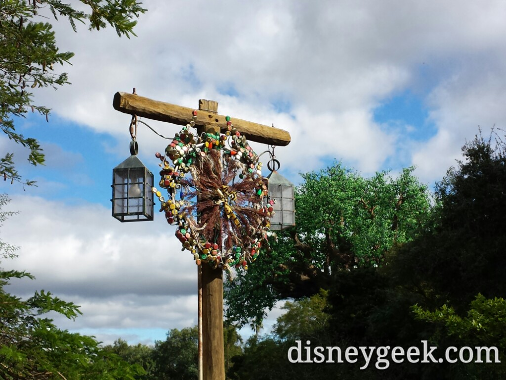 #Christmas decorations as you enter Africa at Disney's Animal Kingdom
