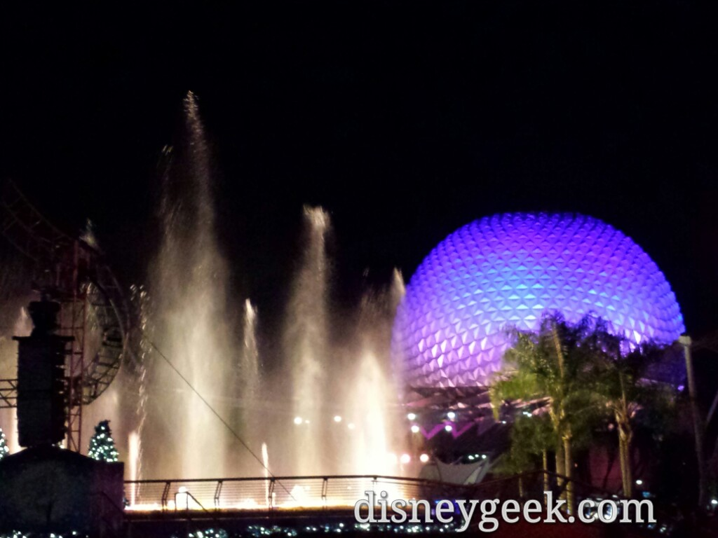 Closing out my day back at #Epcot – Spaceship Earth & Fountain of Nations