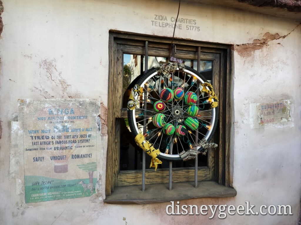 #Christmas decorations in Harambe at Disney's Animal Kingdom #WDW