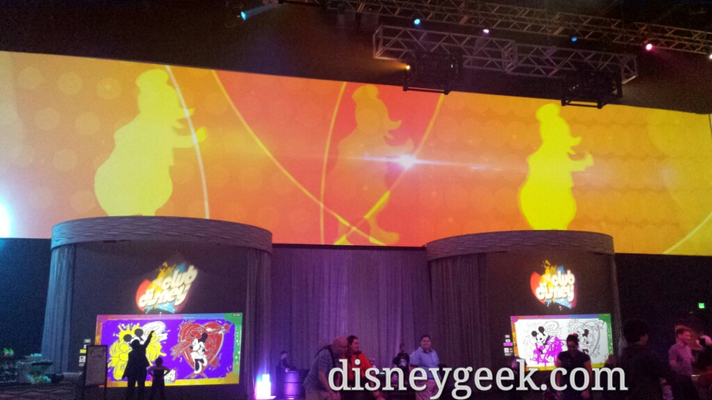 Projections around the perimeter of Club Disney