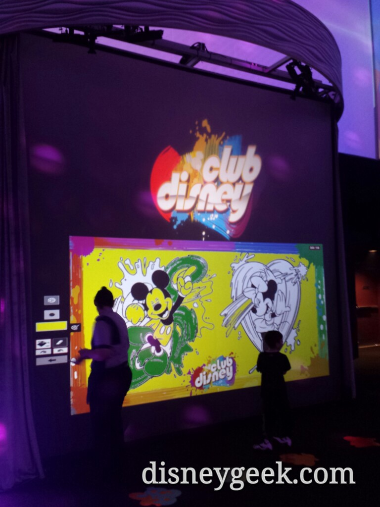 Interactive coloring walls at Club Disney in Disney's Hollywood Studios
