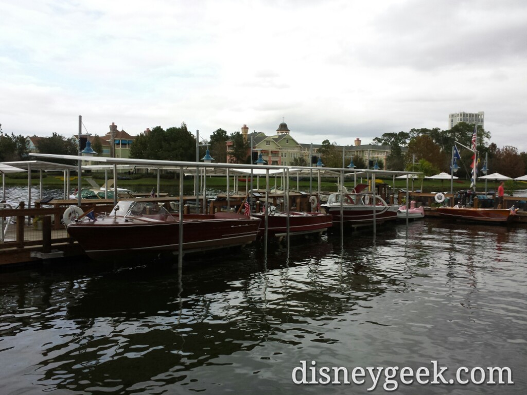 Boats on Lake Buena Vista behind the Boathouse