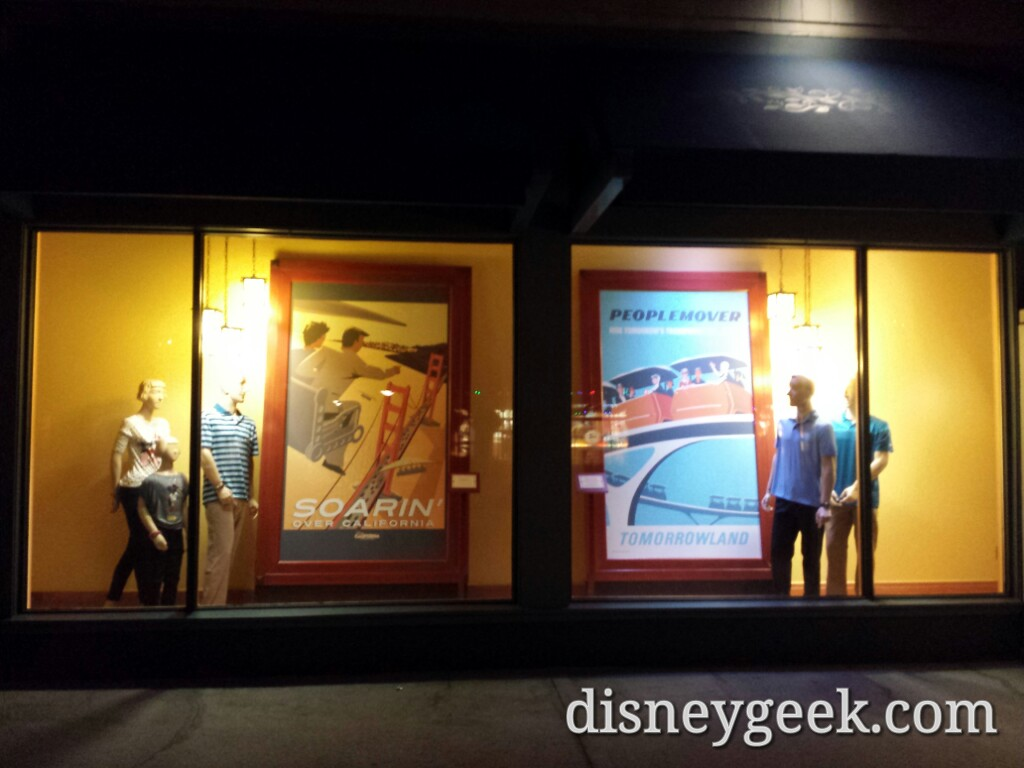 Attraction posters in the World of Disney window, odd the description signs were swapped