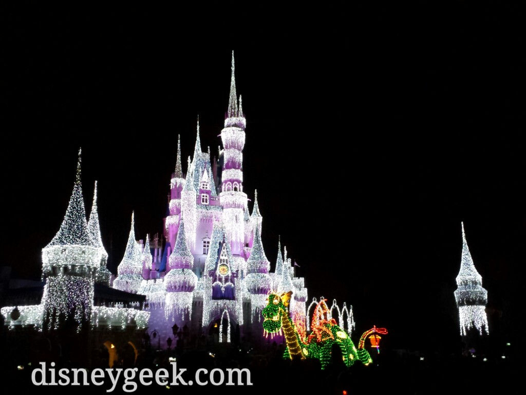 Pete & Elliott in the Main Street Electrical Parade passing Cinderella Castle #WDW