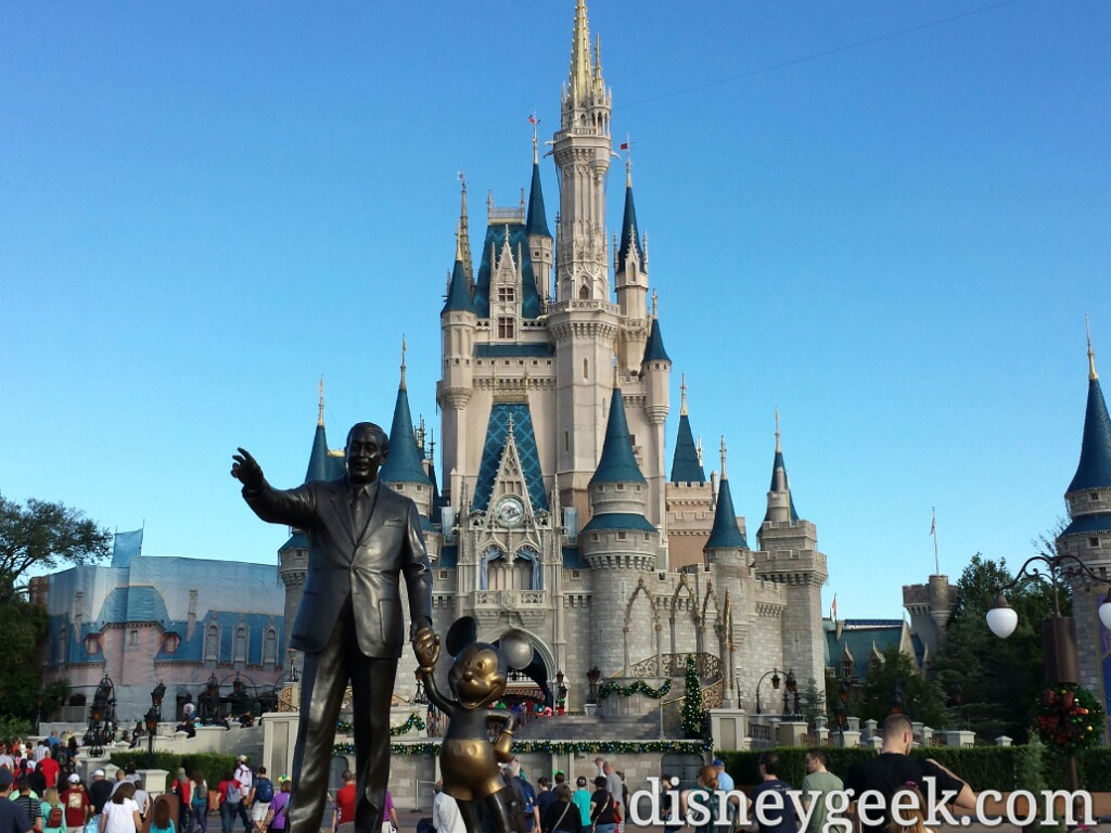 Walt & Mickey Partners Statue and Cinderella Castle