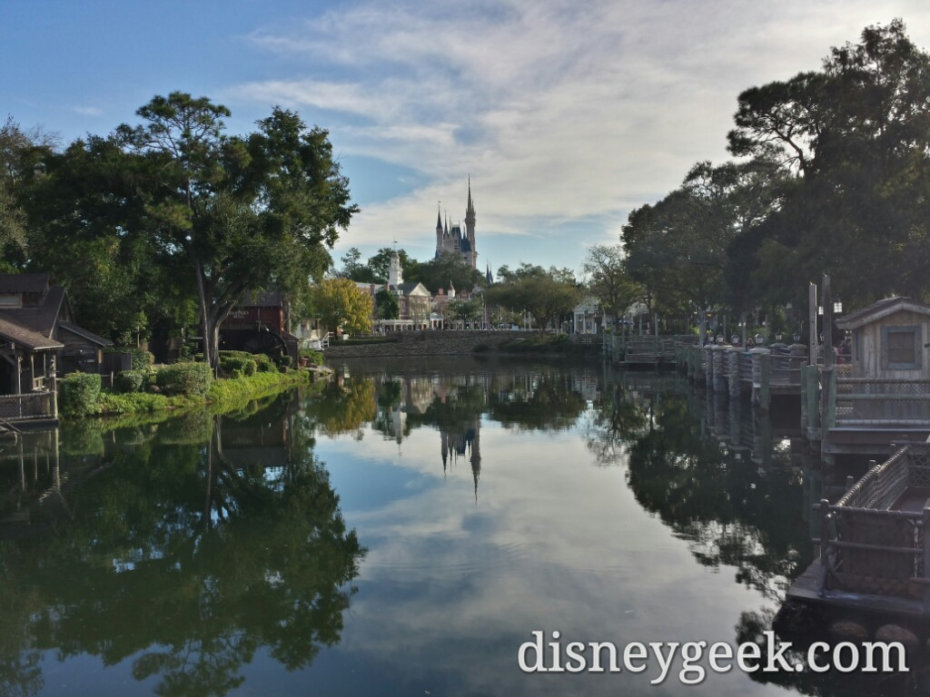 The Rivers of America and Cinderella Castle this morning
