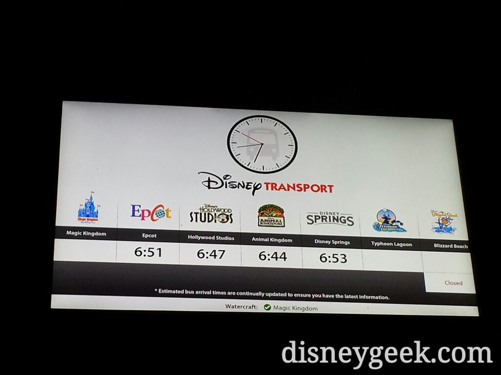 Next bus arrival times at Fort Wilderness  #WDW