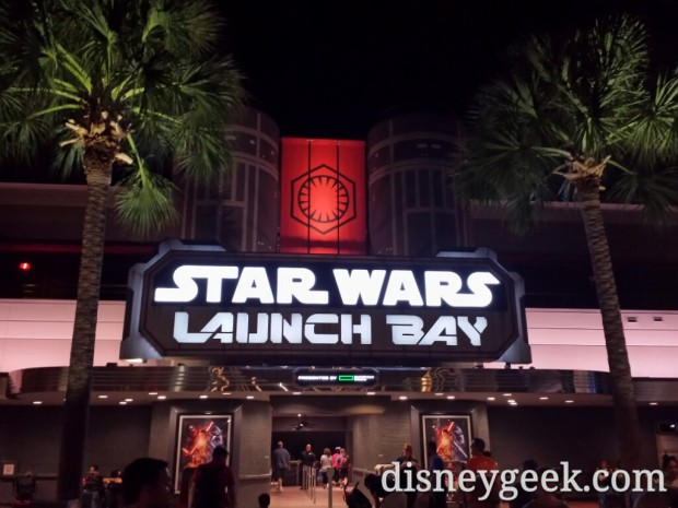 Star Wars Launch Bay sign at night