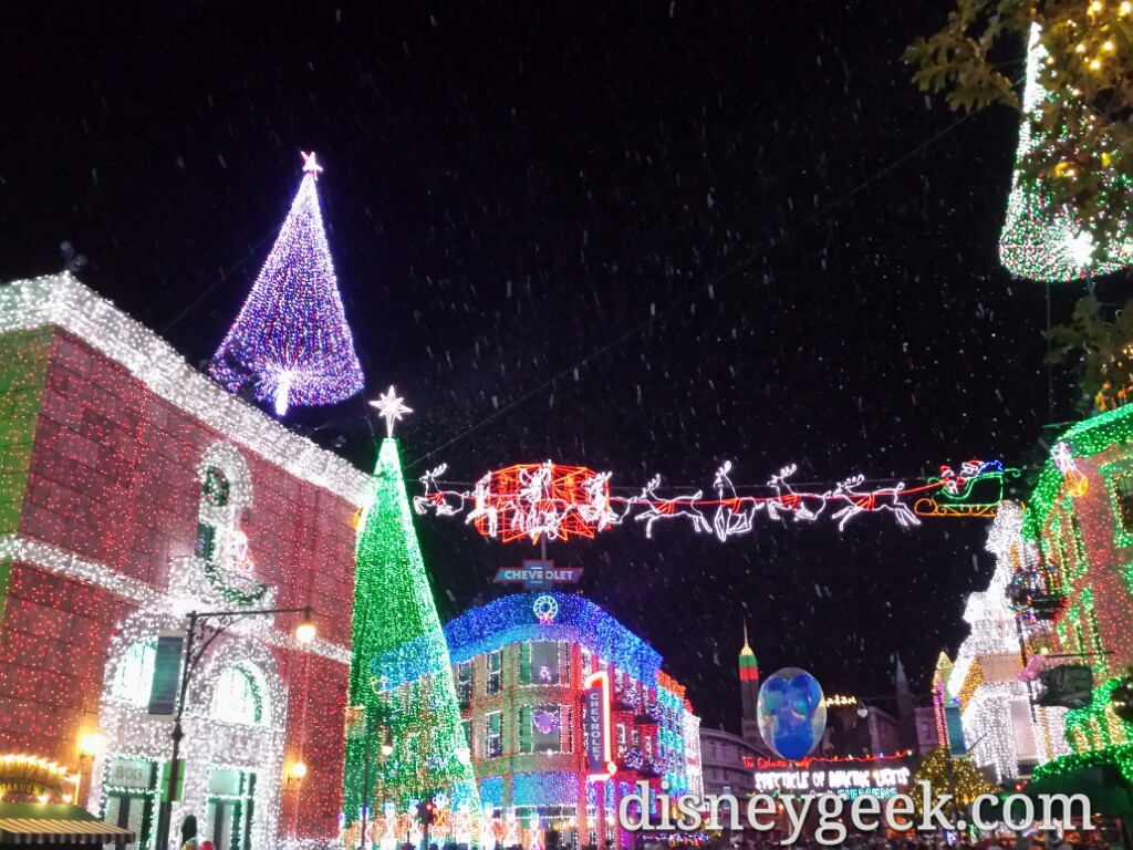 Osborne lights with snow fall at Disney's Hollywood Studios