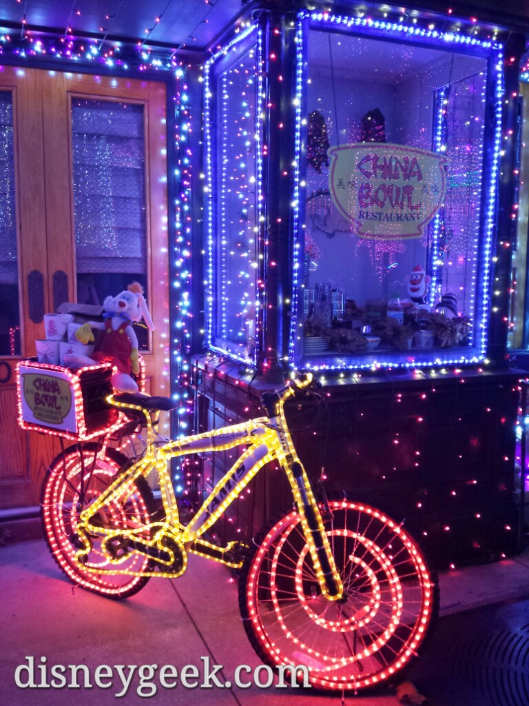 Roger Rabbit on a delivery bike in the Osborne lights display